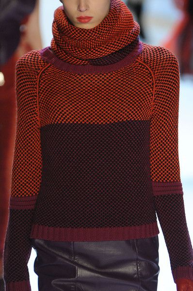 burnt orange - Charlotte Ronson Fall 2012...lovely, but I'd make the neckline less scooped so that when wearing the cowl, it looks like it's all one piece.  Also, the rib at the bottom looks stingy.  I'd do a few inches of rolls in the purple.