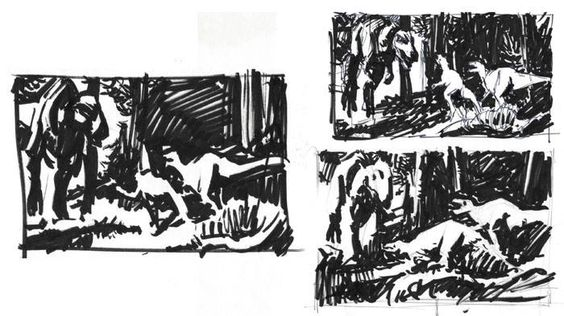 James Gurney: Mindful of the risk of getting carried away with too much detail and middle tones, I remind myself to keep it simple. These black and white thumbnail sketches, sketched with a pigmented brush marker, force me to interpret the image to its tonal essentials.