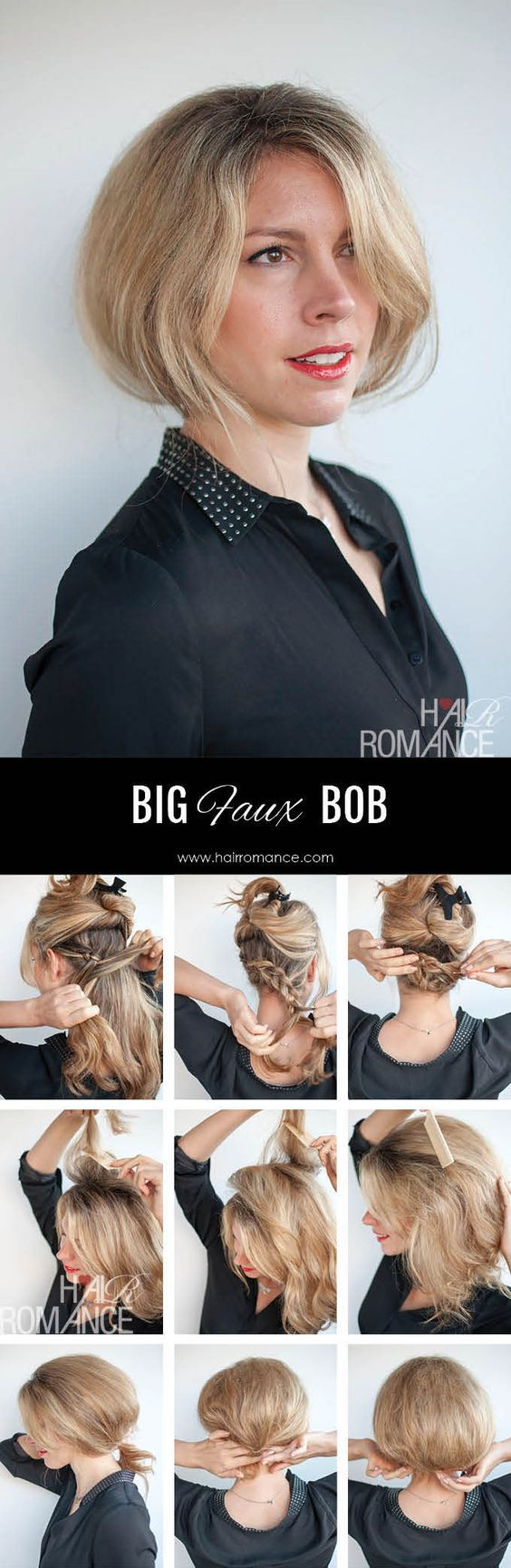 Big faux bob; Get the scoop on these wedding hairstyle tutorial looks from Hair Romance's amazing blog. hairromance.com