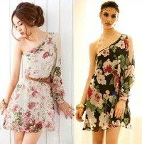 Sexy One Shoulder Floral Chiffon Dress