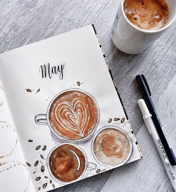 Bullet Journal sur le thème du café