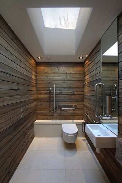 All one room bathroom.  Obvious lack of decoration, must be done with materials and design work.  Most bathroom items will need to be put into recessed shelving/drawer space WITH water tight doors (rubber seal should do fine)