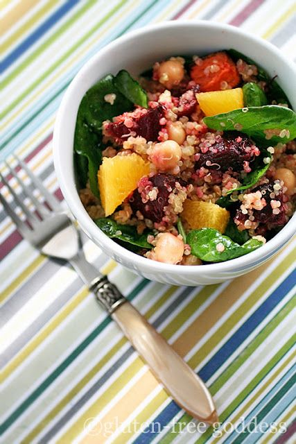 Quinoa Salad with Roasted Beets, Chick Peas and Orange by glutenfreegoddess