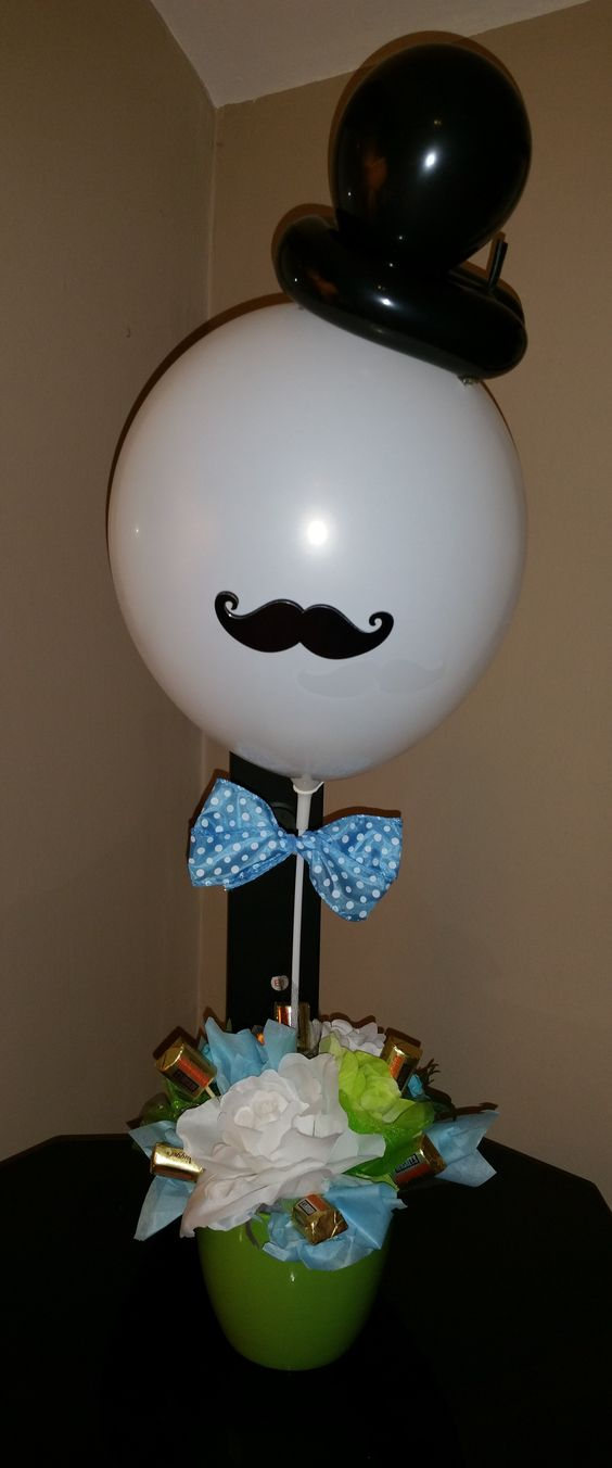 Mustache candy centerpiece for baby shower party themed