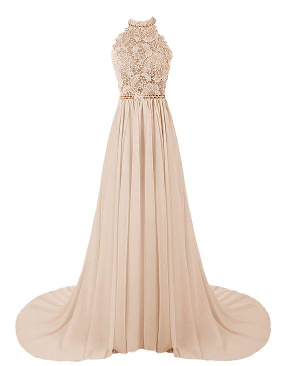 Dresstells Women's Long Halterneck Chiffon Prom Dress A-line Evening Dress Party Dress with Embroidery