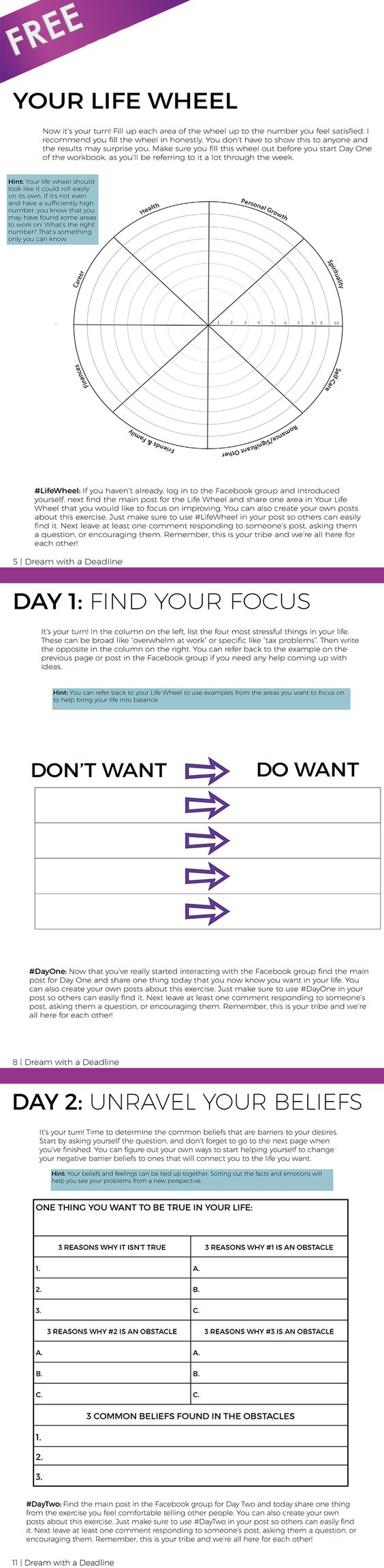 FREE Personal Development Goal Setting Workbook - 26+ pages - 5 Day Challenge & 2 Bonus Exercises:
