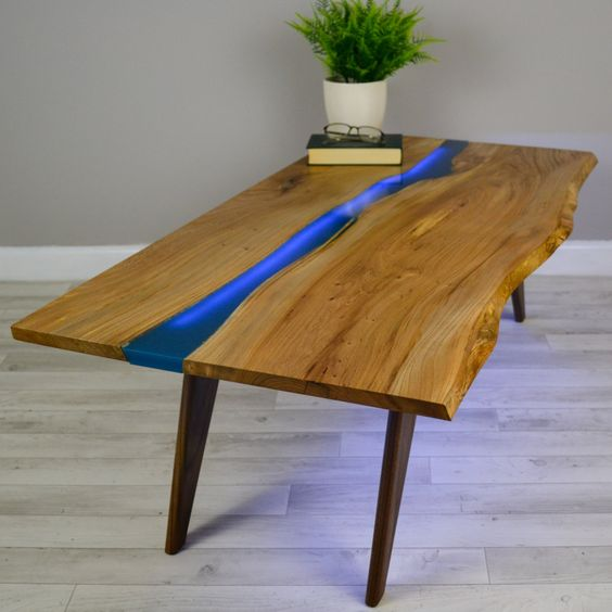 Resin River Coffee Table On Walnut Base Coffee Tables