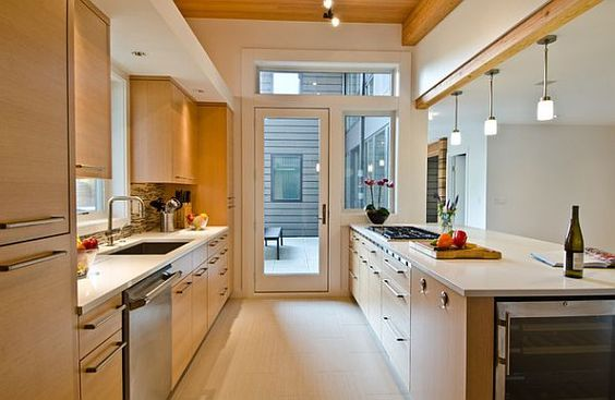 Modern #galley #kitchen with white countertop. Thinking solid white would look best in our kitchen.