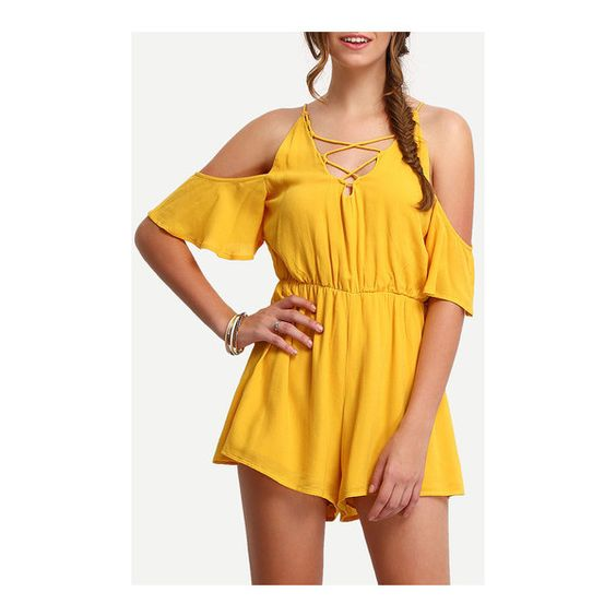 SheIn(sheinside) Cold Shoulder Lace Up Cut Out Romper (380 MXN) ❤ liked on Polyvore featuring jumpsuits, rompers, yellow, yellow jumpsuit, cutout jumpsuit, short sleeve rompers, beach rompers and off shoulder jumpsuit