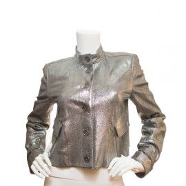 Burberry London Silver Leather Jacket #burberry #burberrylondon #leather