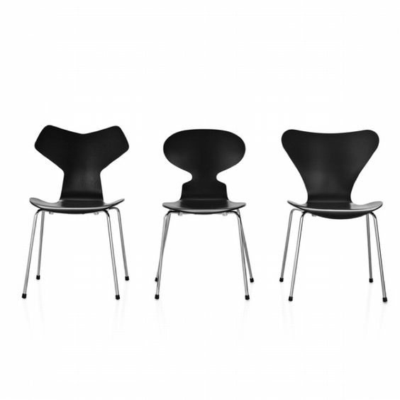 Grand Prix chair, Ant chair, Seven chair by Arne Jacobsen, 1952.