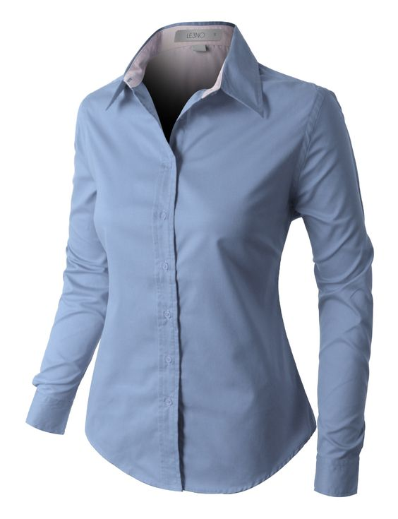 LE3NO PREMIUM Womens Easy Care Long Sleeve Button Down Work Shirt