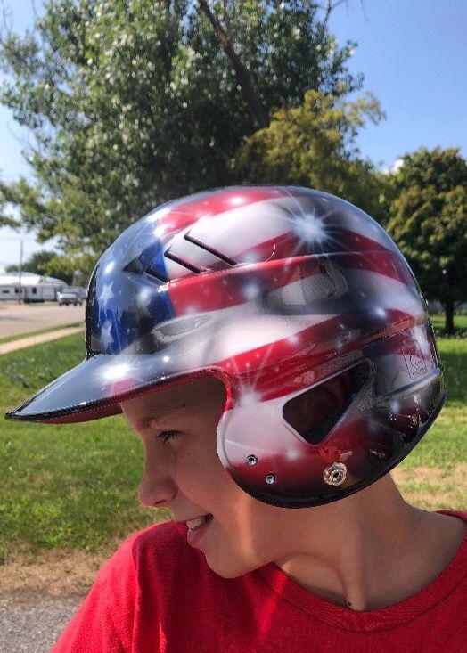 Custom Airbrushed Batting Helmet With Name On Back New Helmet Etsy In 2020 Custom Airbrushing Batting Helmet Helmet Paint