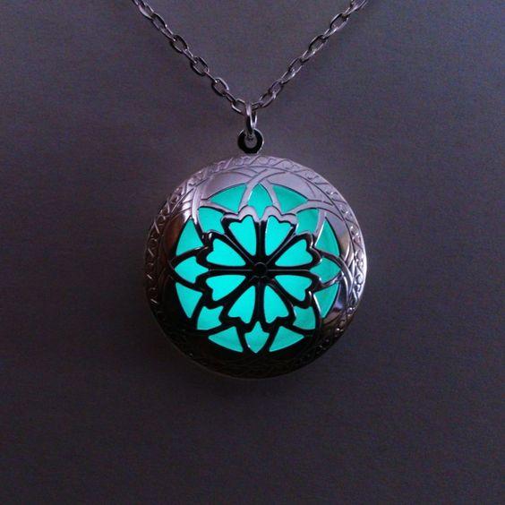 Glowing Locket Necklace- Aqua Glowing Jewelry - Glow in the Dark Pendant