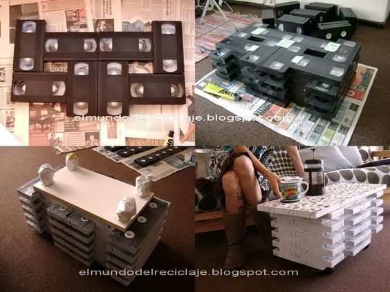 EL MUNDO DEL RECICLAJE: DIY mesa con cintas de VHS