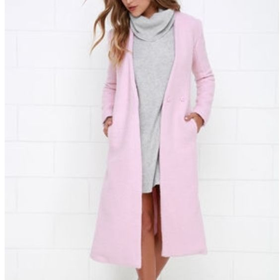 BNWOT GORGEOUS pink Lulus wool coat It's soft pink, it's beautiful, it's 100% wool and it is warm. I LOVE it, but it doesn't fit me :( would fit sz4 best. Color is true to the stock photos. Price firm Lulu's Jackets & Coats Pea Coats