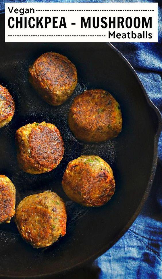 Vegan Chickpea Mushroom Meatballs #veganmeatballs #chickpeameatballs
