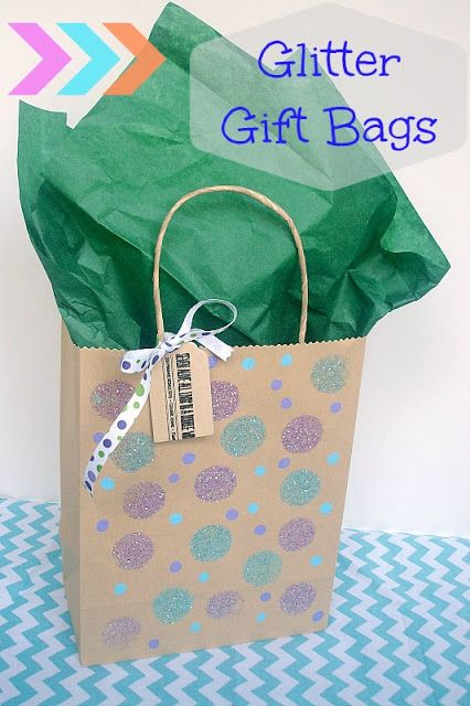 Glitter Gift Bags an Easy Kids Project  - created with Mod Podge washout and Apple Barrel paints