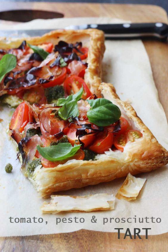 tomato, pesto & prosciutto tart | Recipe | Tomato Pesto, Baby Tomatoes ...