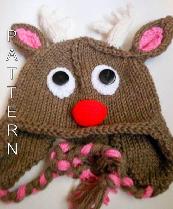 Knitting Pattern Rudolph Reindeer Hat Animal Hat Beanie Earflap
