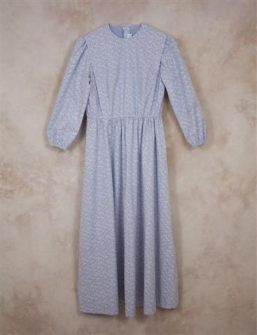 Women's Ready-made Modest Cape Dress Size 36 Blue with  White Flowers