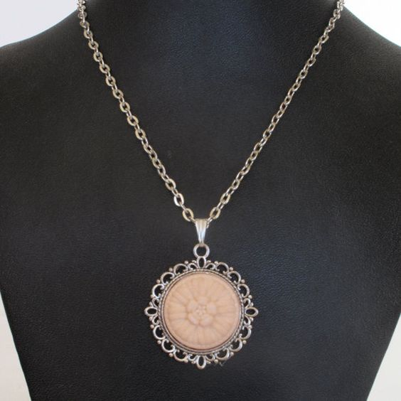 Peach Vintage Button Pendant Necklace by CarolsThreads on Etsy