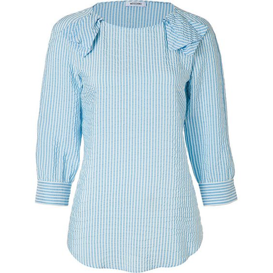 MOSCHINO Light Blue/White Seersucker Silk Top ($610) ❤ liked on Polyvore