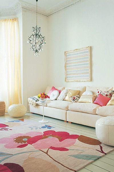 pretty colors. loving this rug and those pillows!: