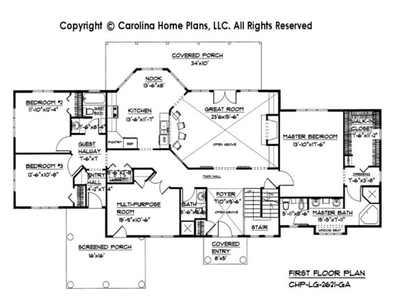 Large open floor house plan chp lg 2621 ga sq ft large for 2600 sq ft house plans