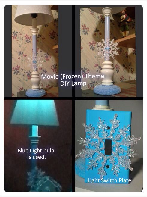 Children love the movie Frozen. I did a DIY Frozen Lamp using an all White (Stick Type Lamp)  Glued Crystal color glitter on white Lamp  shade. Painted the middle and base of lamp light blue. Also glittered the base. Added a Snowflake to shaft of lamp with blue ribbon and glue. My Granddaughter loved it.