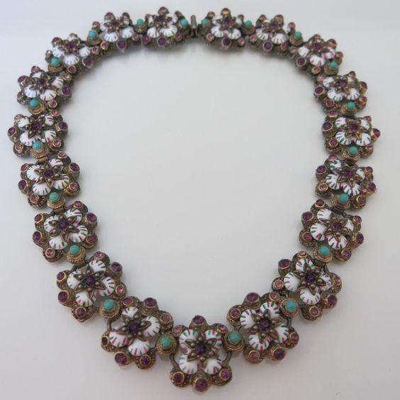 Vtg Victorian Austro Hungarian Revival Amethyst Turquoise Glass Enamel Necklace | eBay