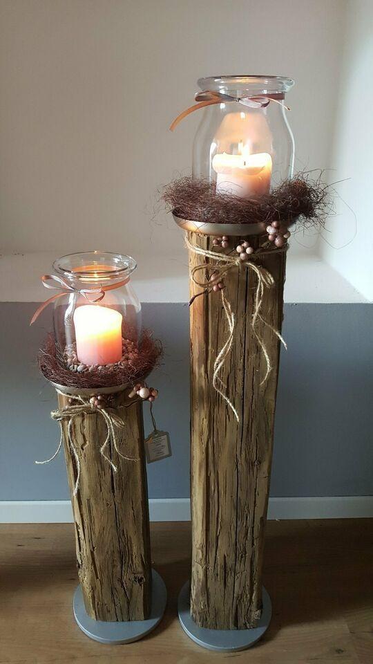 Candlestick Pillar Candles Wood Decoration Lantern Wooden Beams