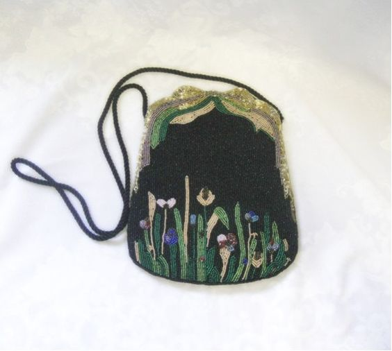 Black Beaded Bag with Flowers  Formal and by EmbracingYesterday, $85.00