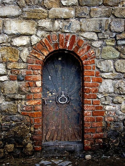 "Desired entry to a ""secret garden"" on our retirement property. LOVE the old stone and brick and great rustic door."