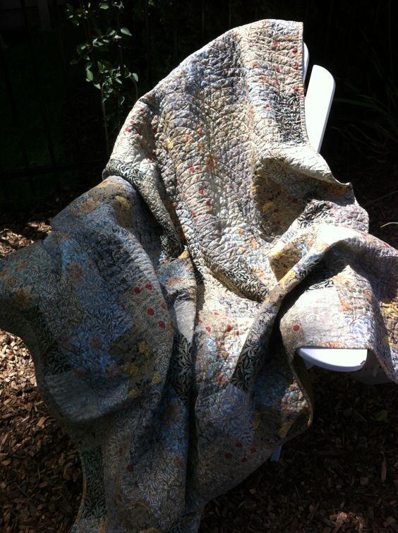 Norma's 50th bday gift. Wm. Morris fabrics. Brick path pattern. Fan machine quilting.
