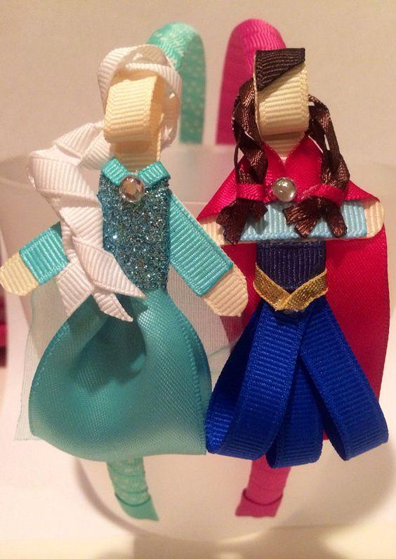 Disney frozen inspired Anna and Elsa hair clip or by daniellimb