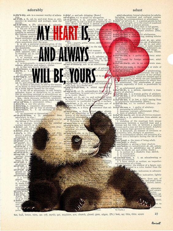 Panda Love Dictionary Art print Dictionary paper Panda by Renivall