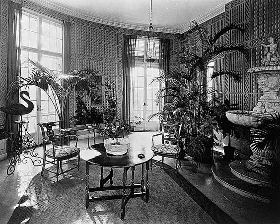 The winter garden/enclos*ure: conservatory of James Parmelee house, N.W. Washington, D.C., 1919, by Frances Benjamin Johnston, via Library of Congress: