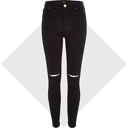 Black ripped knee Lana superskinny jeans