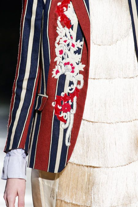 Dries Van Noten Fall 2013. embroidery on stripes