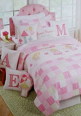 Nicole Miller Applique Quilt Blanket Fairy Butterfly Pink White Green Flower Patchwork Print (TWIN )