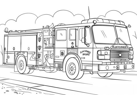Fire Truck Coloring Pages Gambar Anak Trailer