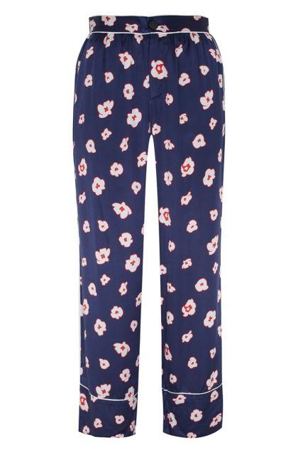 Брюки с принтом MO&Co - Широкие брюки из коллекции MO&Co, выполненные из натуральных материалов: шелка и хлопка в интернет-магазине модной дизайнерской и брендовой одежды