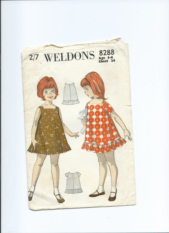 Vintage paper pattern, Weldons 8288 for little girl's dress, age 5 - 6. 1960s by Marcialois on Etsy