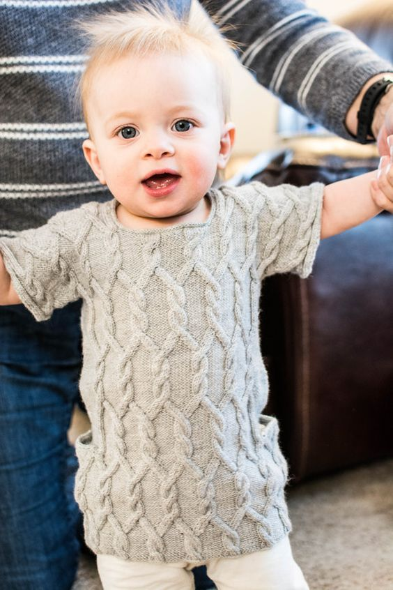 Cabled Frockette baby dress in grey - knitting project by Kathryn on the LoveKnitting Community!