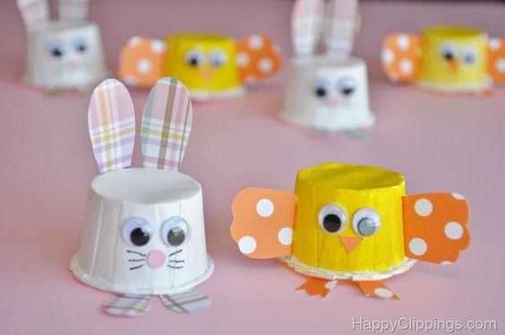 Λαγουδακια και κοτοπουλακια απο κυπελακια για cupcakes :): Easter Idea, Bunny Craft, Cups Craft, Spring Project, Cup Crafts