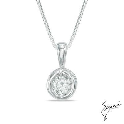1/10+CT.+Diamond+Sirena™+Energy+Solitaire+Pendant+in+14K+White+Gold