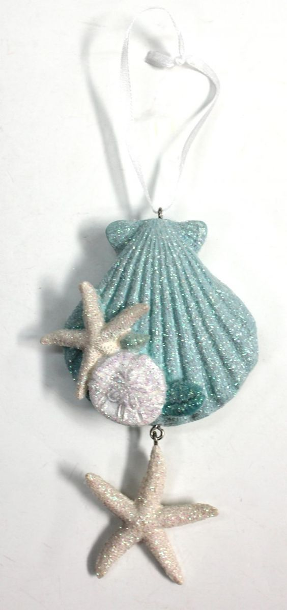 This glittered resin seashell ornament is one of our top for Christmas tree ornaments made from seashells