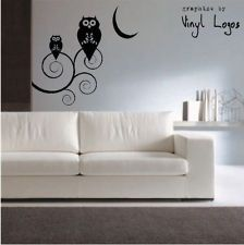 LARGE OWLS TREE ART BEDROOM MURAL STENCIL WALL STICKER TRANSFER VINYL DECAL