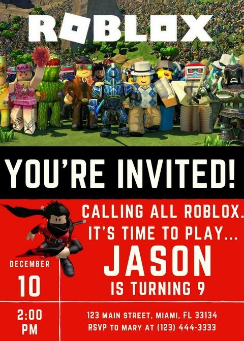 Roblox Themed Party Supplies Roblox Party Invitation